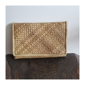 Vintage Woven Straw Envelope Clutch